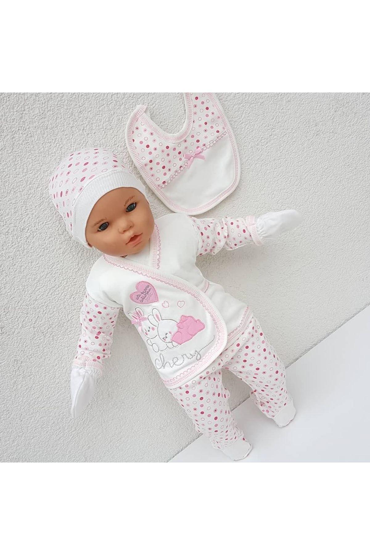 Chery Kalpli Tavşan 5 Parça Bebek Hastane Çıkış Seti - Pembe
