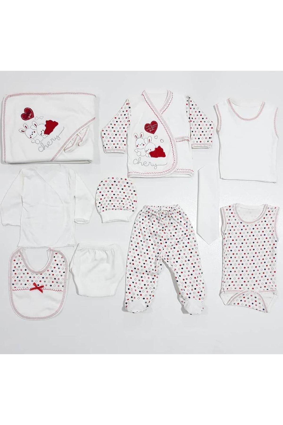 Chery Kırmızı Kalpli Tavşan Puanlı 11 Parça Hastane Çıkış Seti