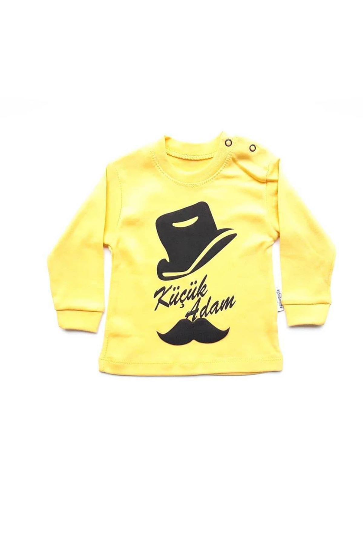 Küçük Adam 2 li Erkek Bebek Takım - Sarı Siyah