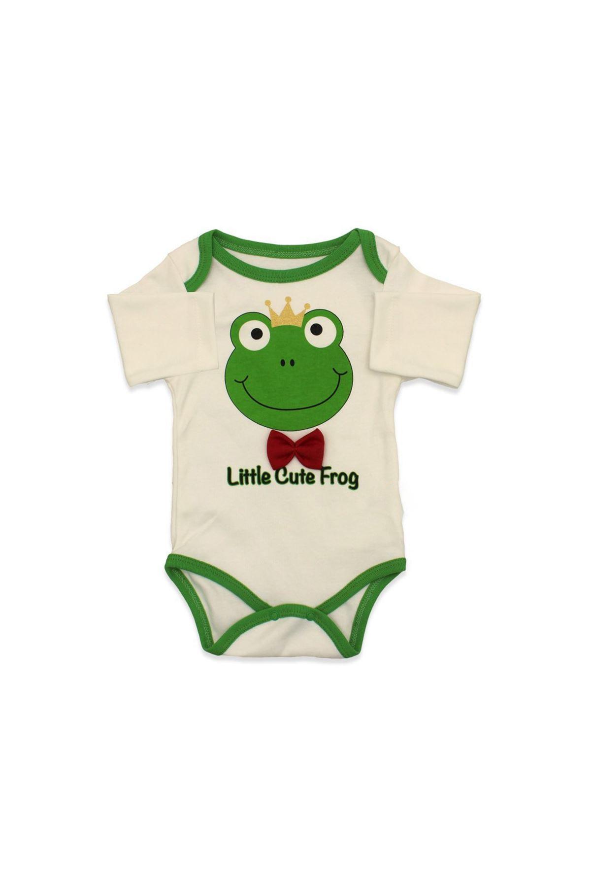 Kurbağa Baskılı Bebek Zıbın Takımı - 3'lü