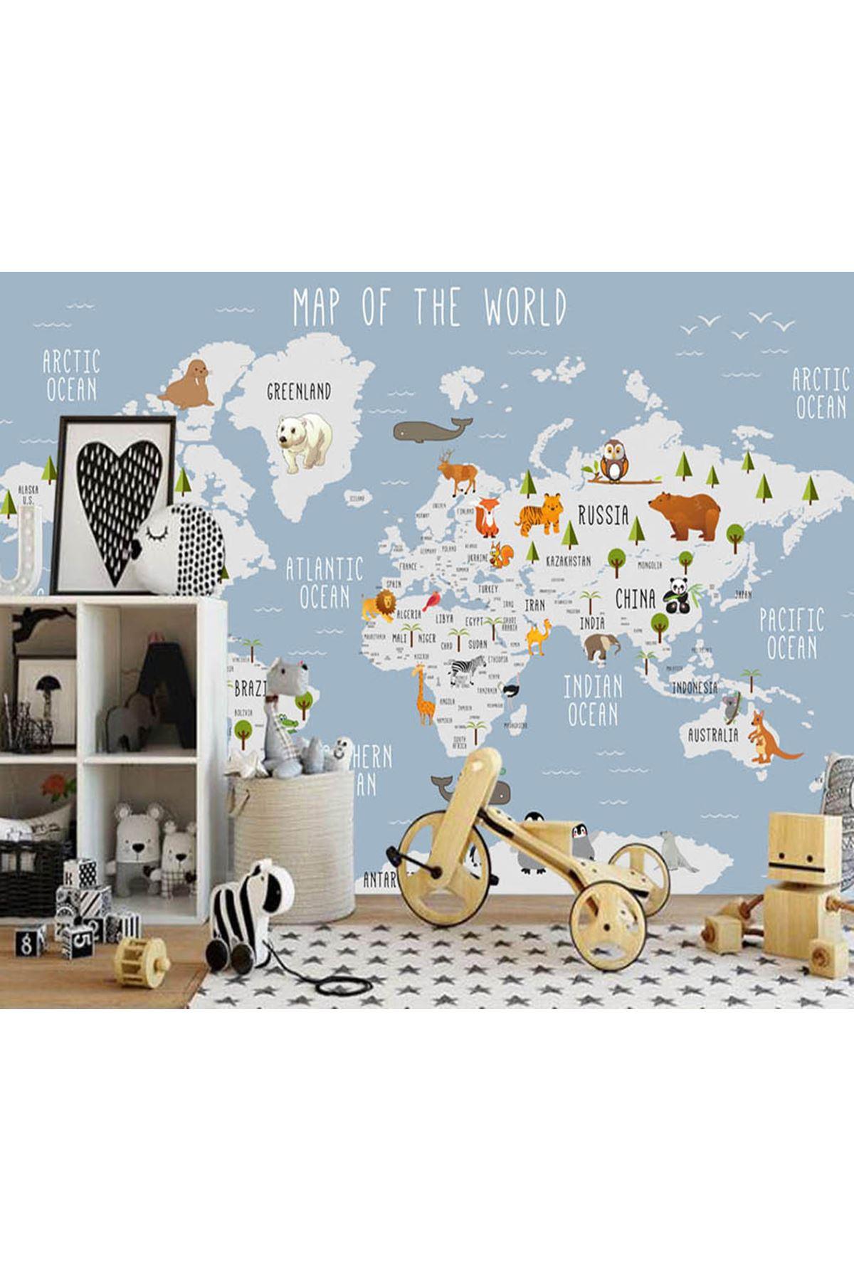 Dünya Haritası Kıtalar Çocuk Odası Duvar Kağıdı Posteri
