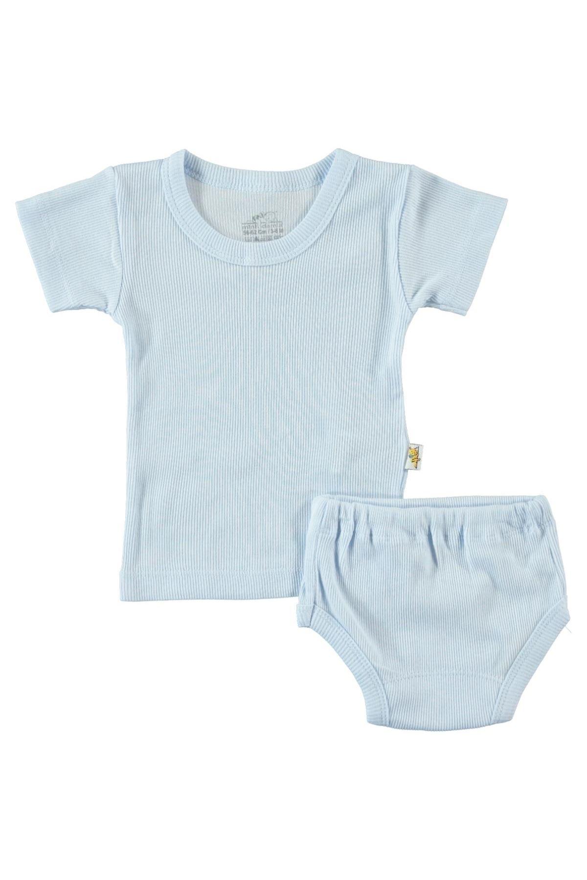 Albimini Minidamla Kaşkorse Bebe Kısa Kol Çamaşır Takımı 42769 Mavi