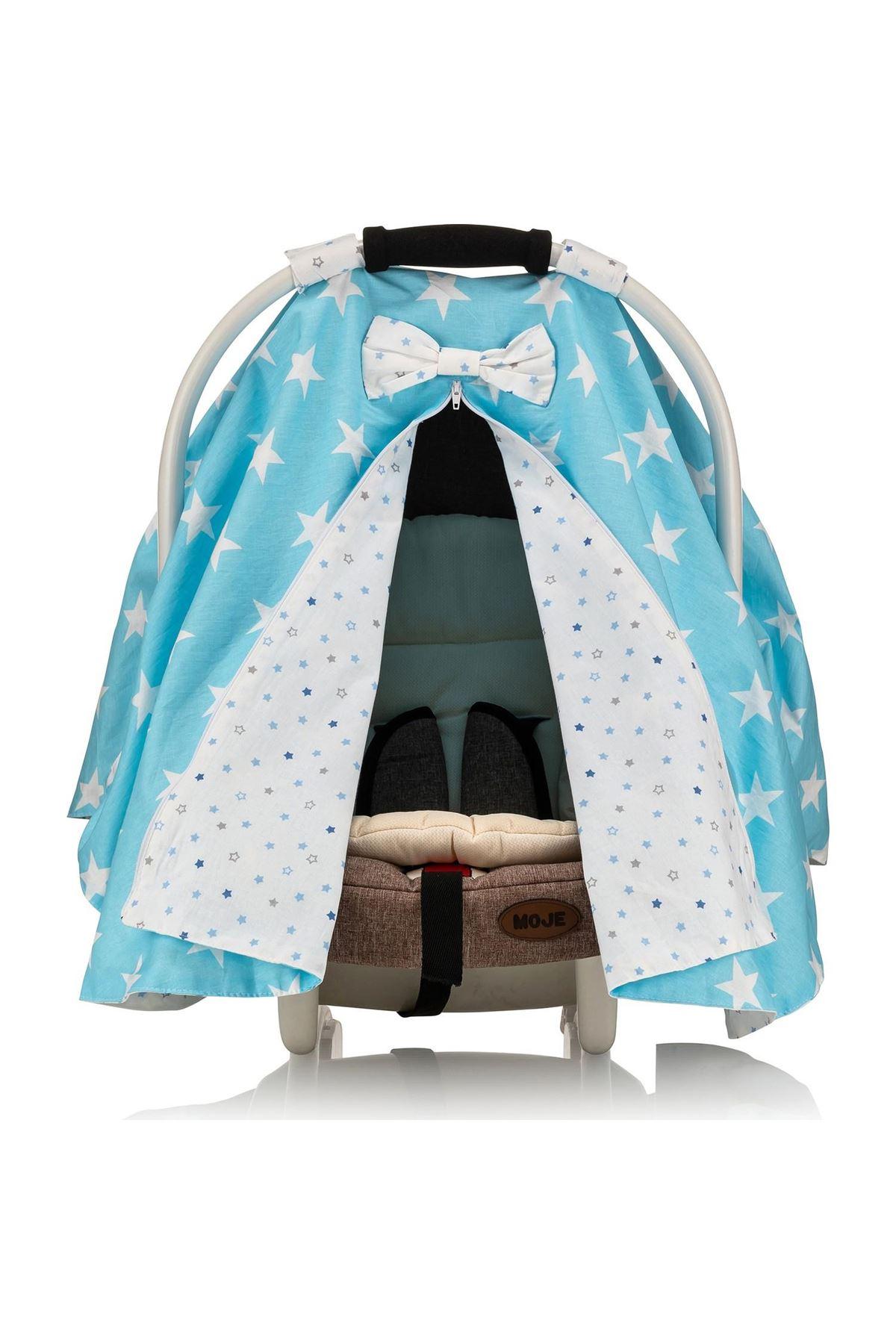 Moje Poplin Puset Bebek Arabası Örtüsü Mavi Yıldız Mavi Yıldız