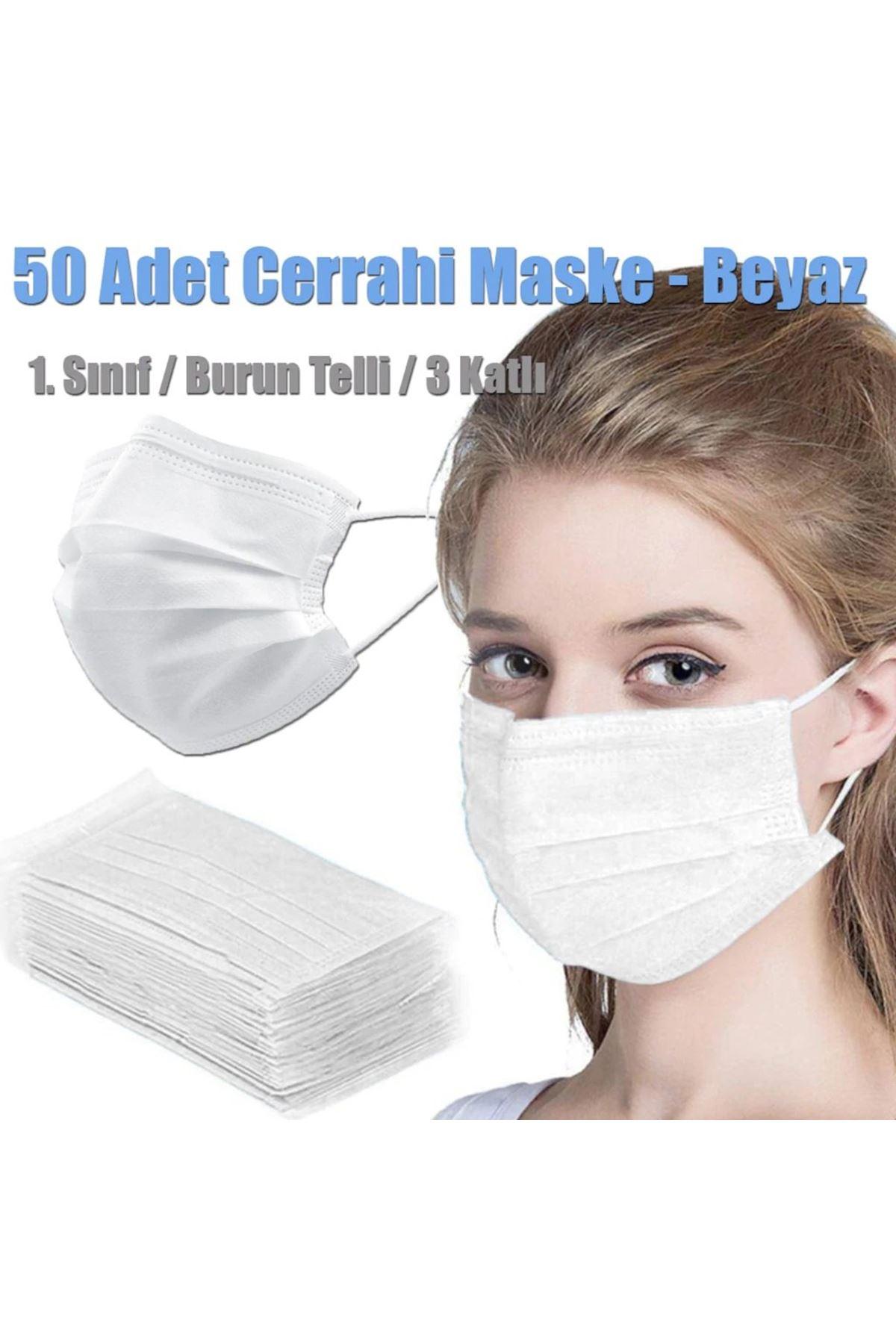 Steril Lastikli Telli 3 Katlı Beyaz Maske