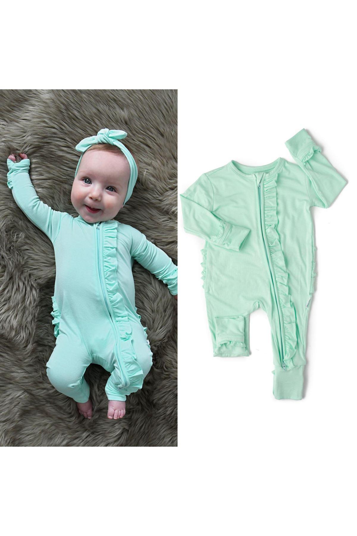 Fırfırlı Bandanalı Bebek Tulum - Yeşil