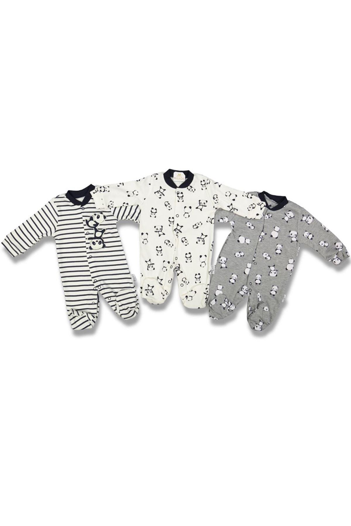 Pandalı 3'lü Bebek Tulum Set - Gri