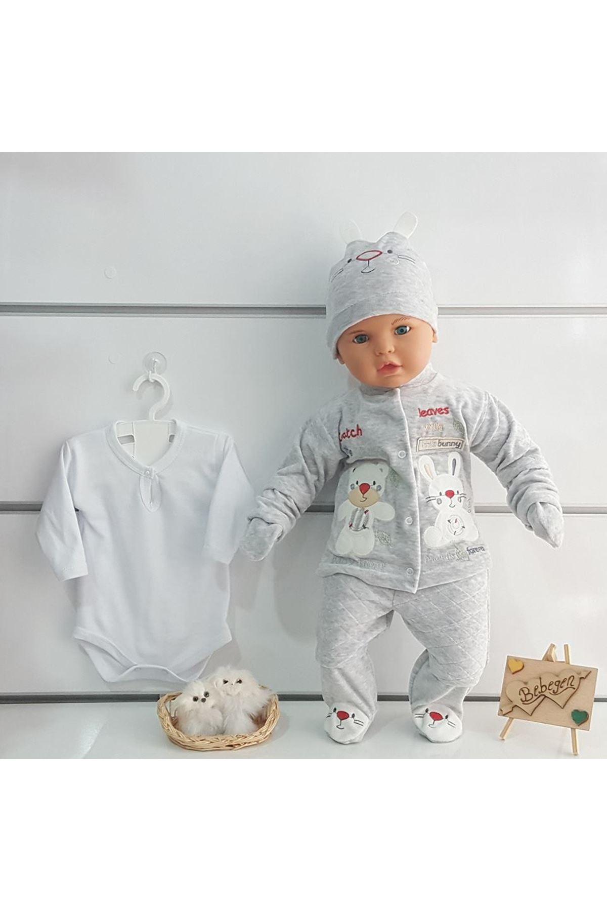 Tavşan 5 Parça Gri Kadife Bebek Hastane Çıkış Seti
