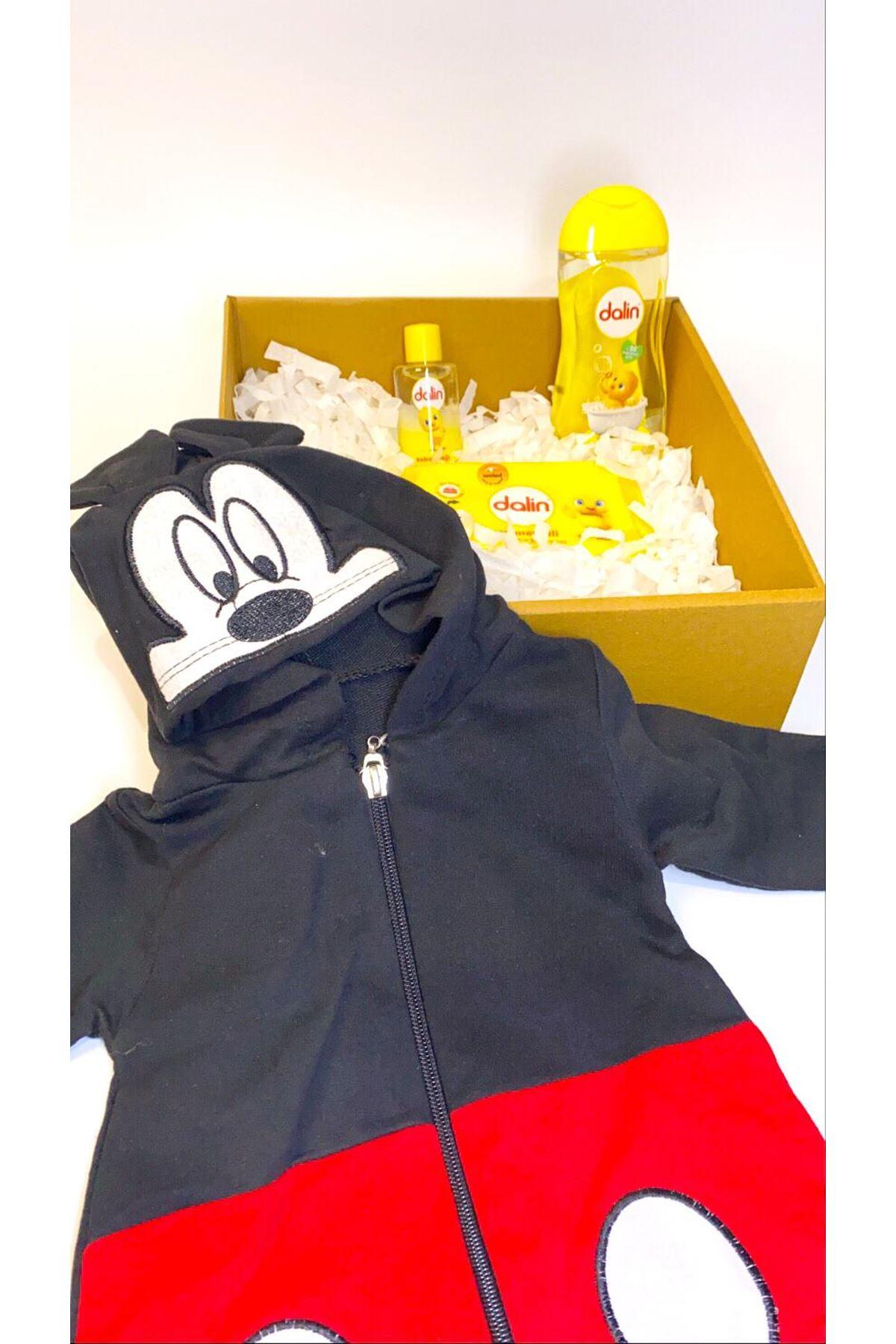 Dalinli ve Mickey Mouse Kapşonlu Tulum Bebek Hediye Kutusu