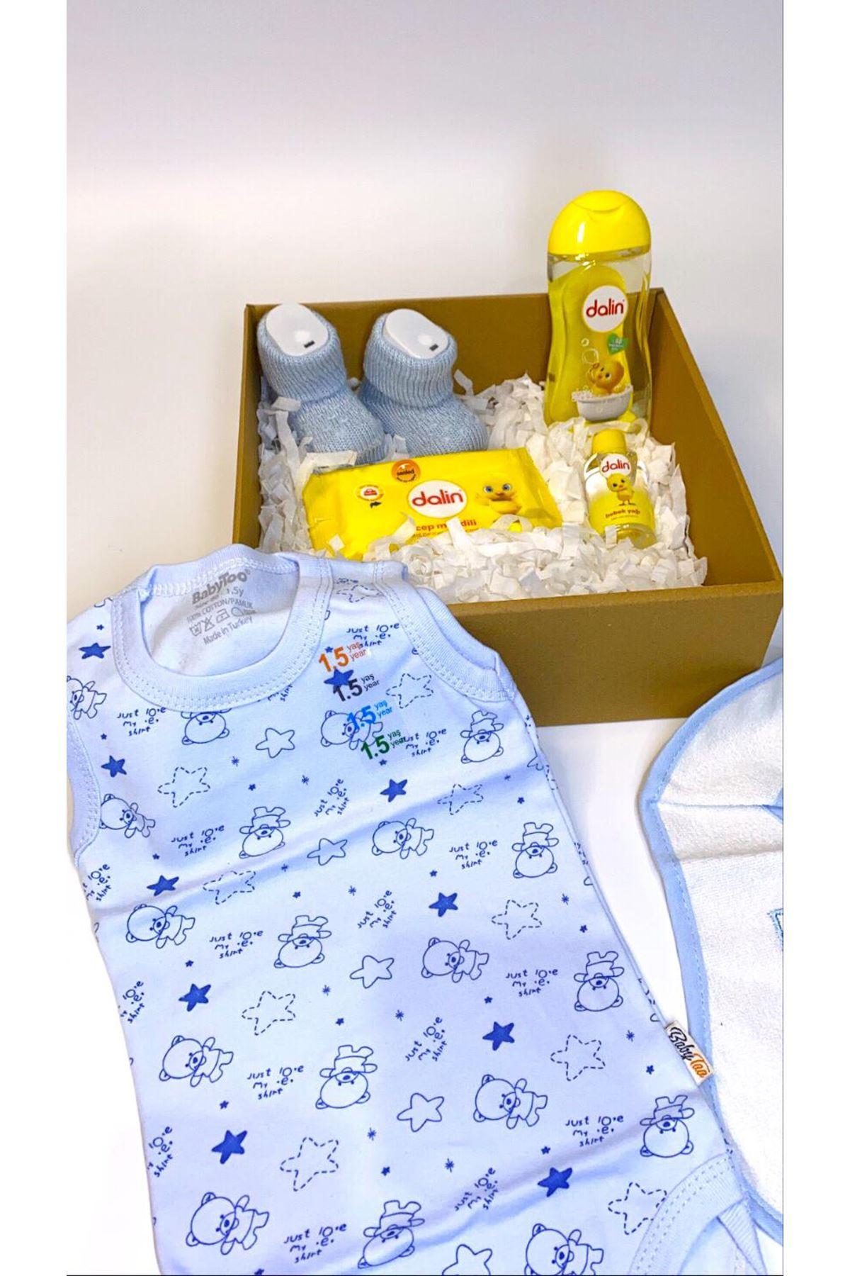 Dalinli ve Mavi Ayı Desenli Askılı Bebek Zıbın Bebek Hediye Kutusu