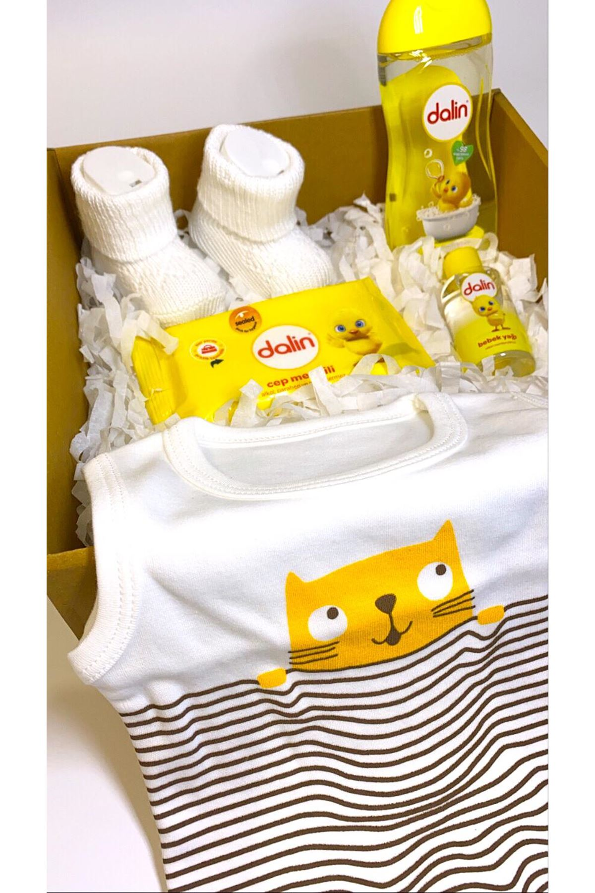 Dalinli ve Çizgili Kedi Askılı Bebek Zıbın Bebek Hediye Kutusu
