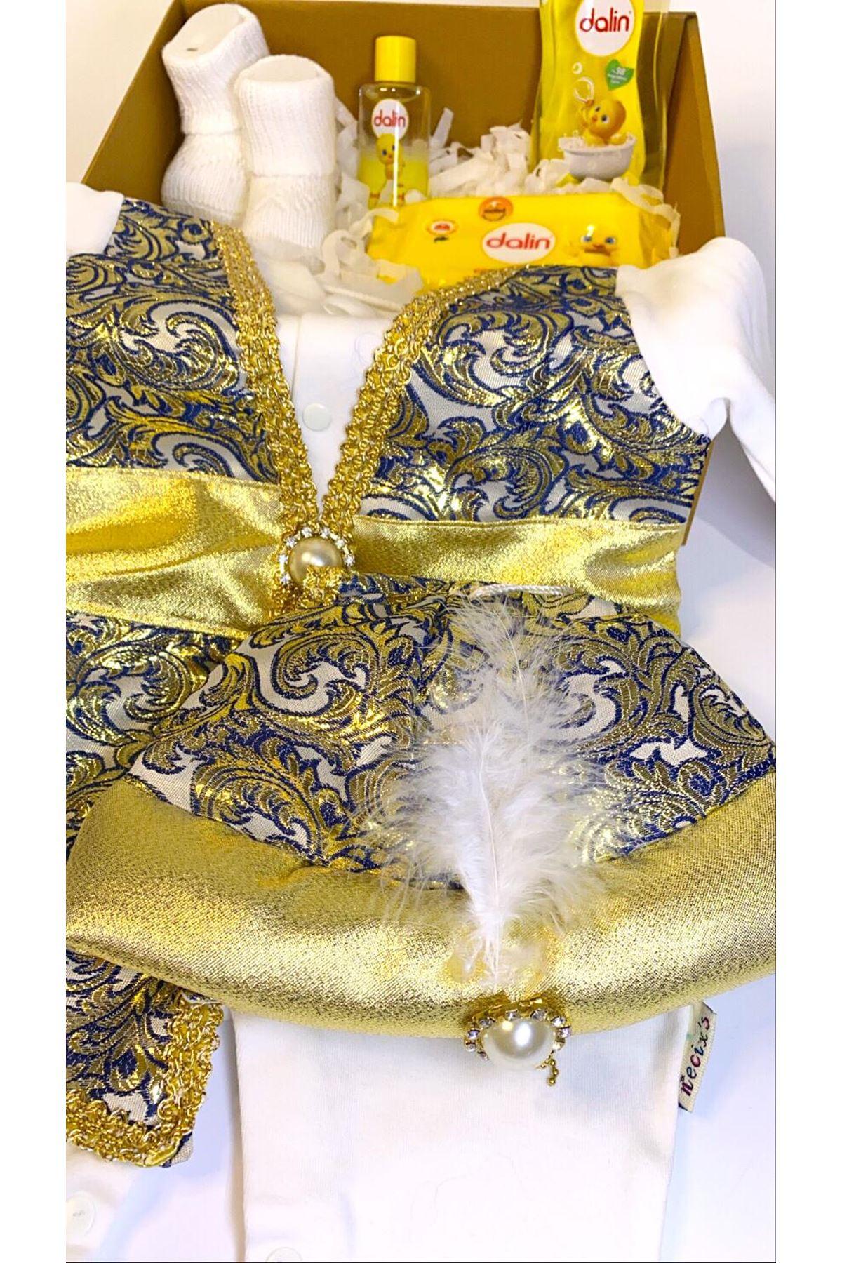 Dalinli ve Şehzade Bebek Mevlüt Tulumu - Lacivert Sarı Bebek Hediye Kutusu