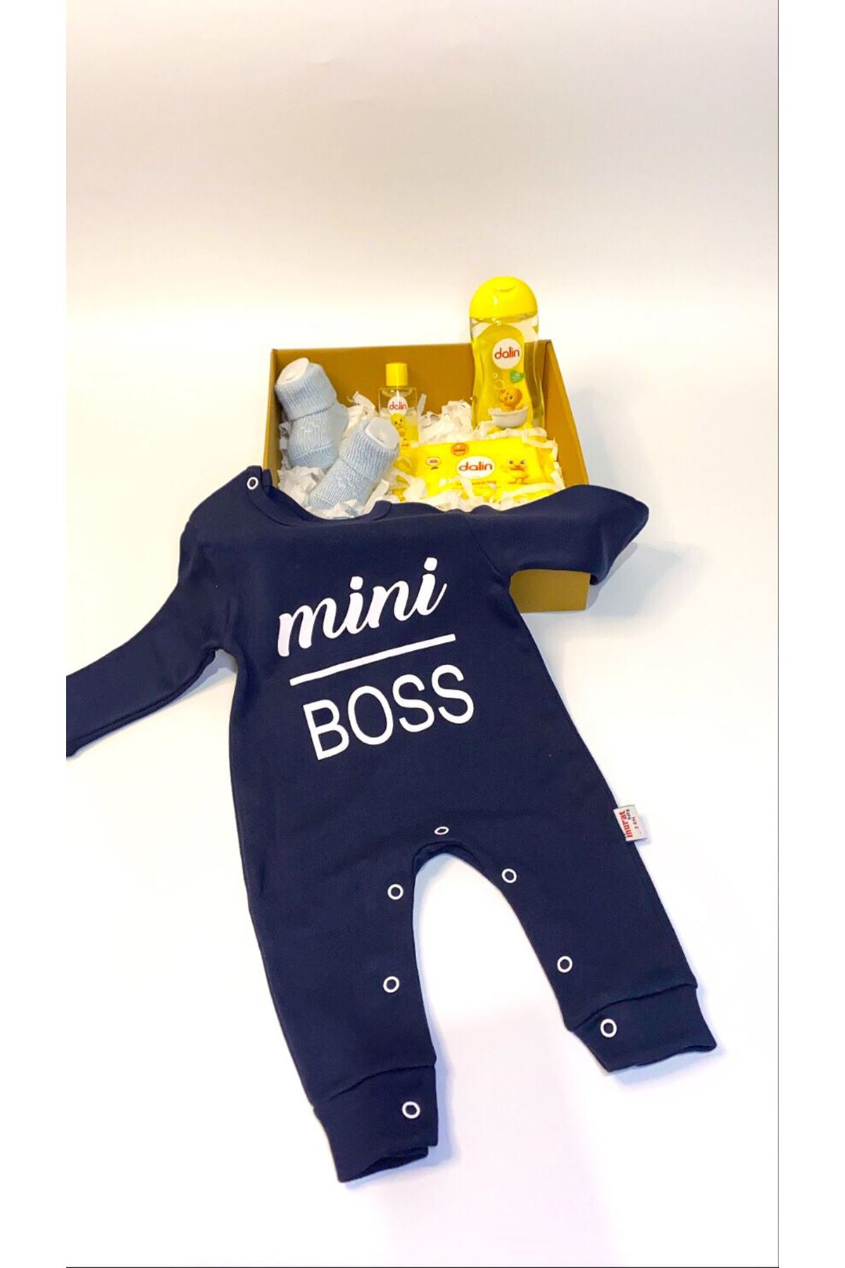 Dalinli ve Mini Boss (Minik Patron) Bebek Tulumu Lacivert Bebek Hediye Kutusu