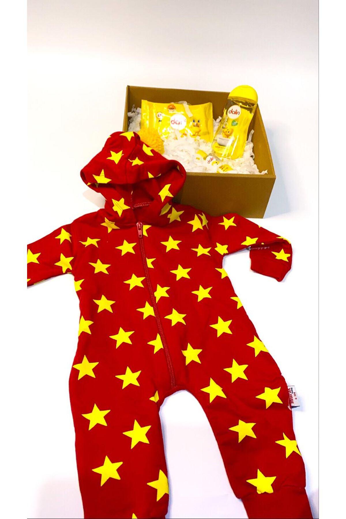 Dalinli ve Kapşonlu Yıldızlı Bebek Tulum Bebek Hediye Kutusu