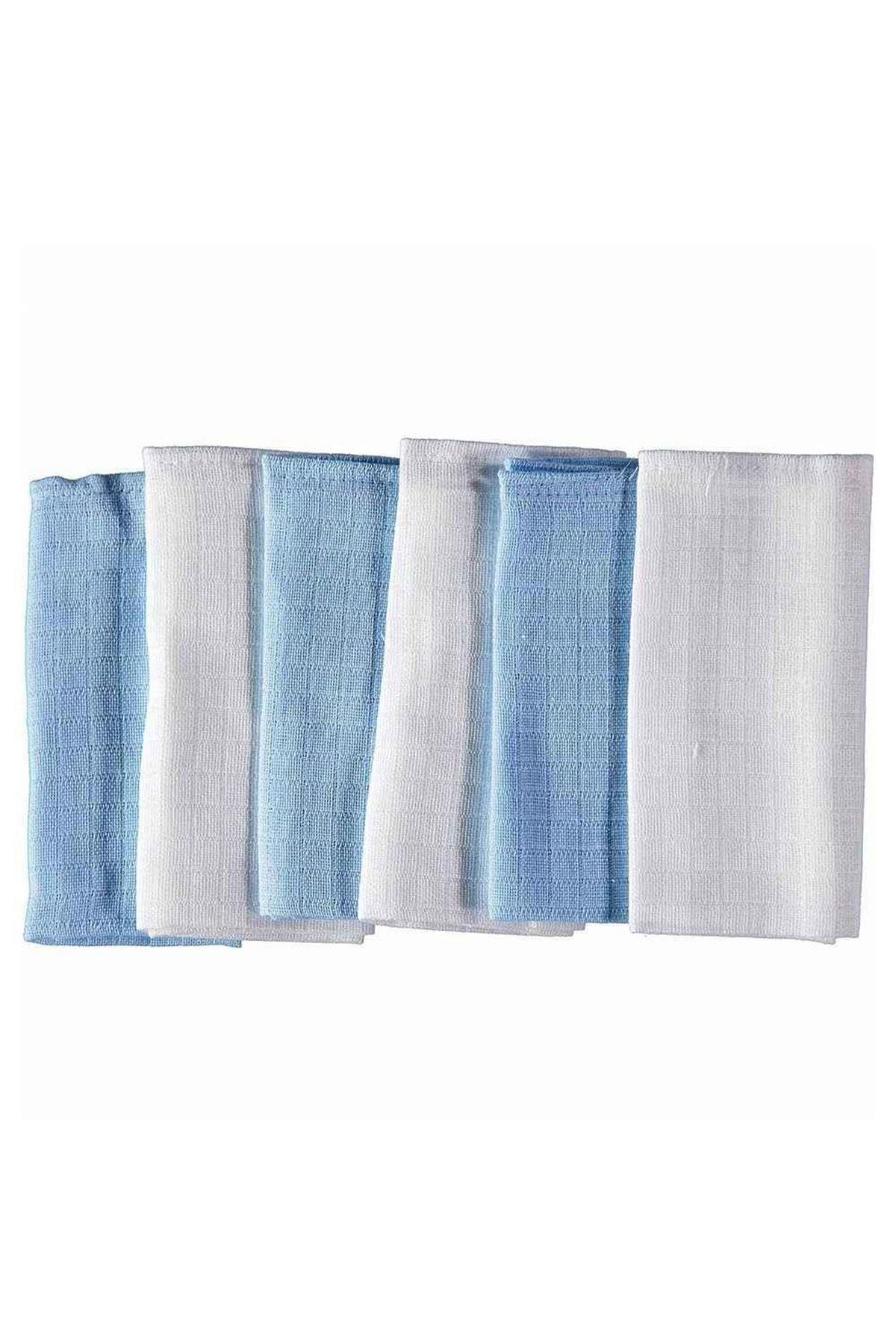 Mycey Müslin Kumaş Ağız Bezi 6lı Set Mavi-Beyaz