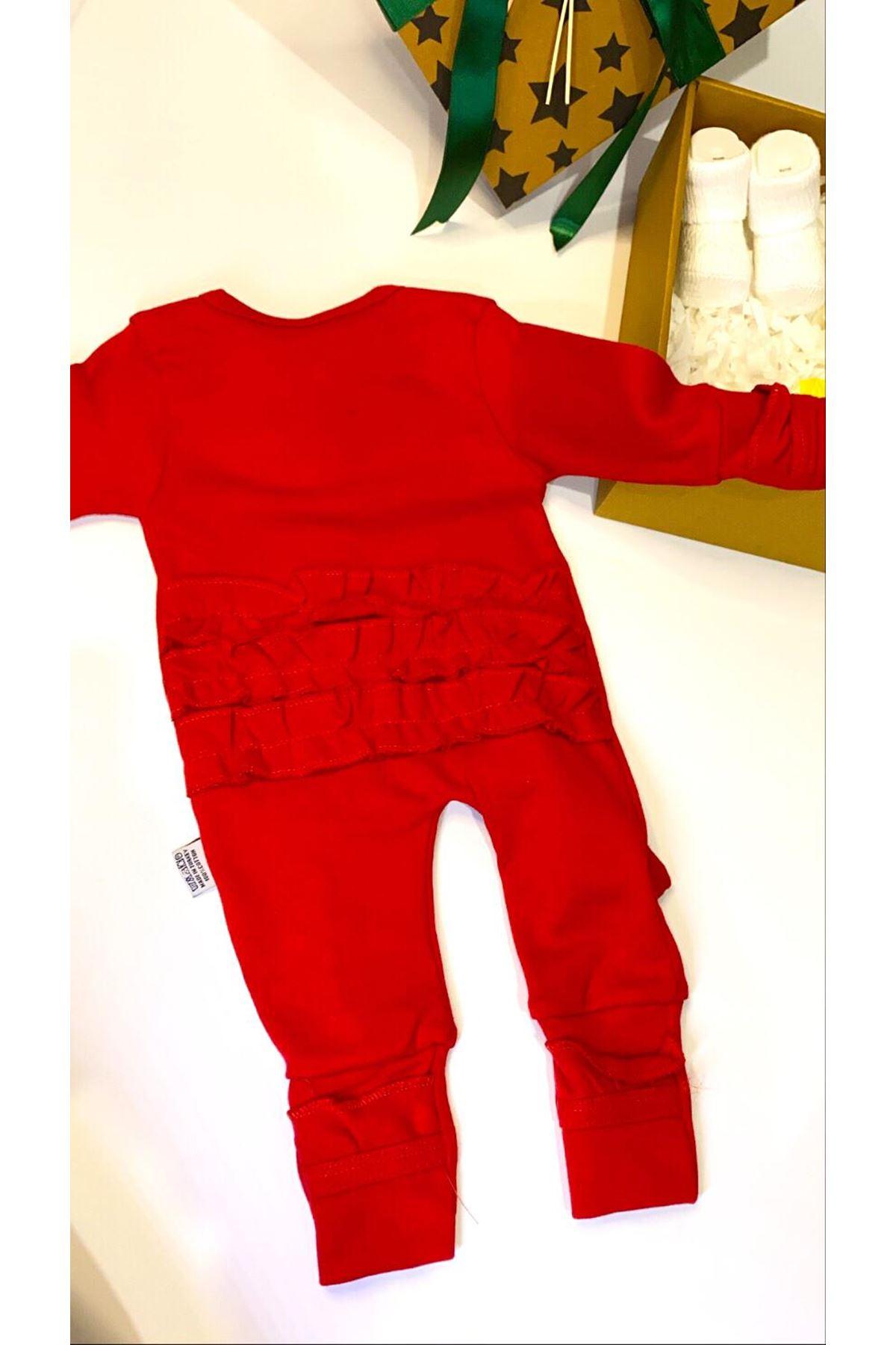 Dalinli ve Fırfırlı Bandanalı Bebek Tulumu Hediye Kutusu