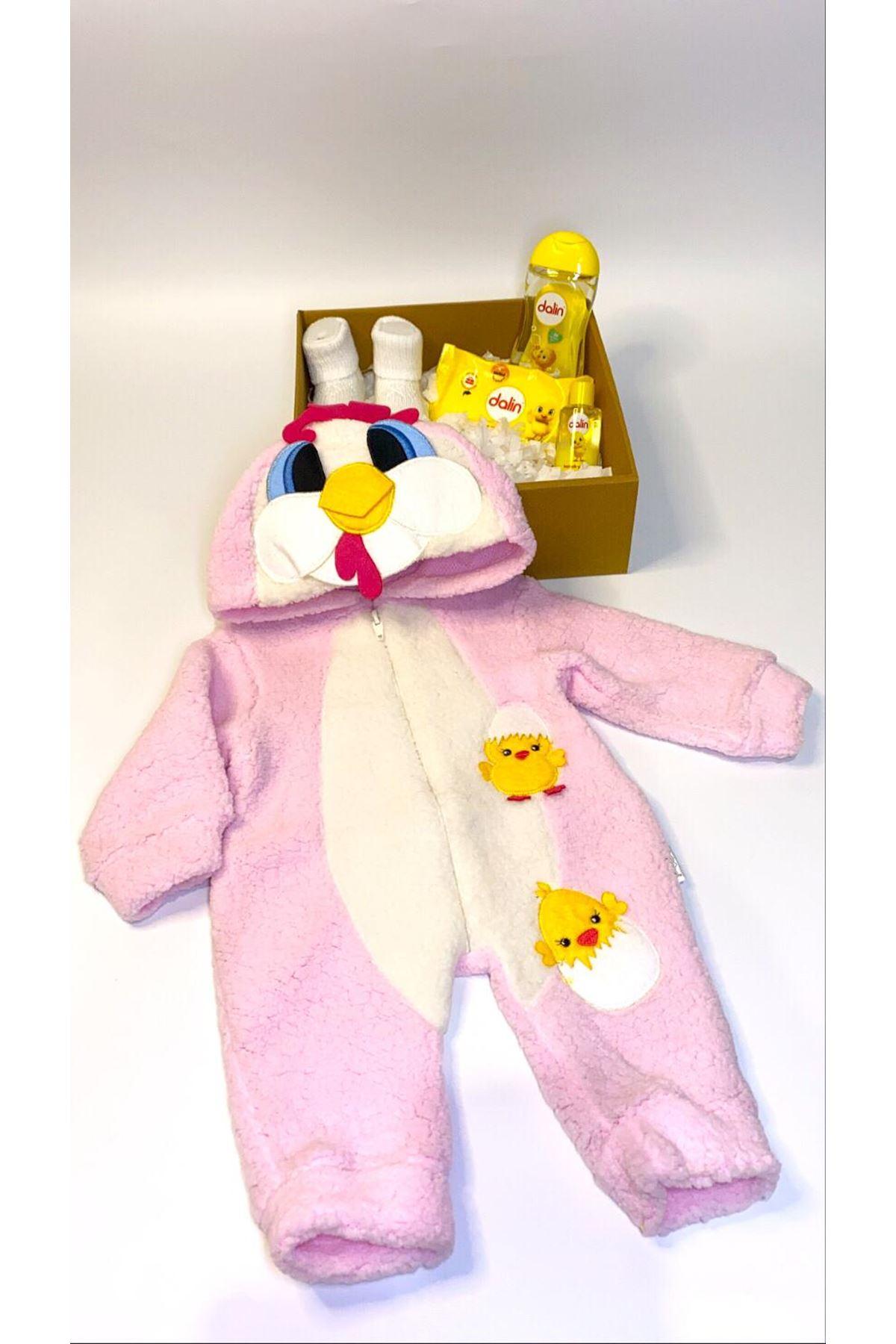 Dalinli ve Civciv Polar Bebek Kostüm Tulum Hediye Kutusu
