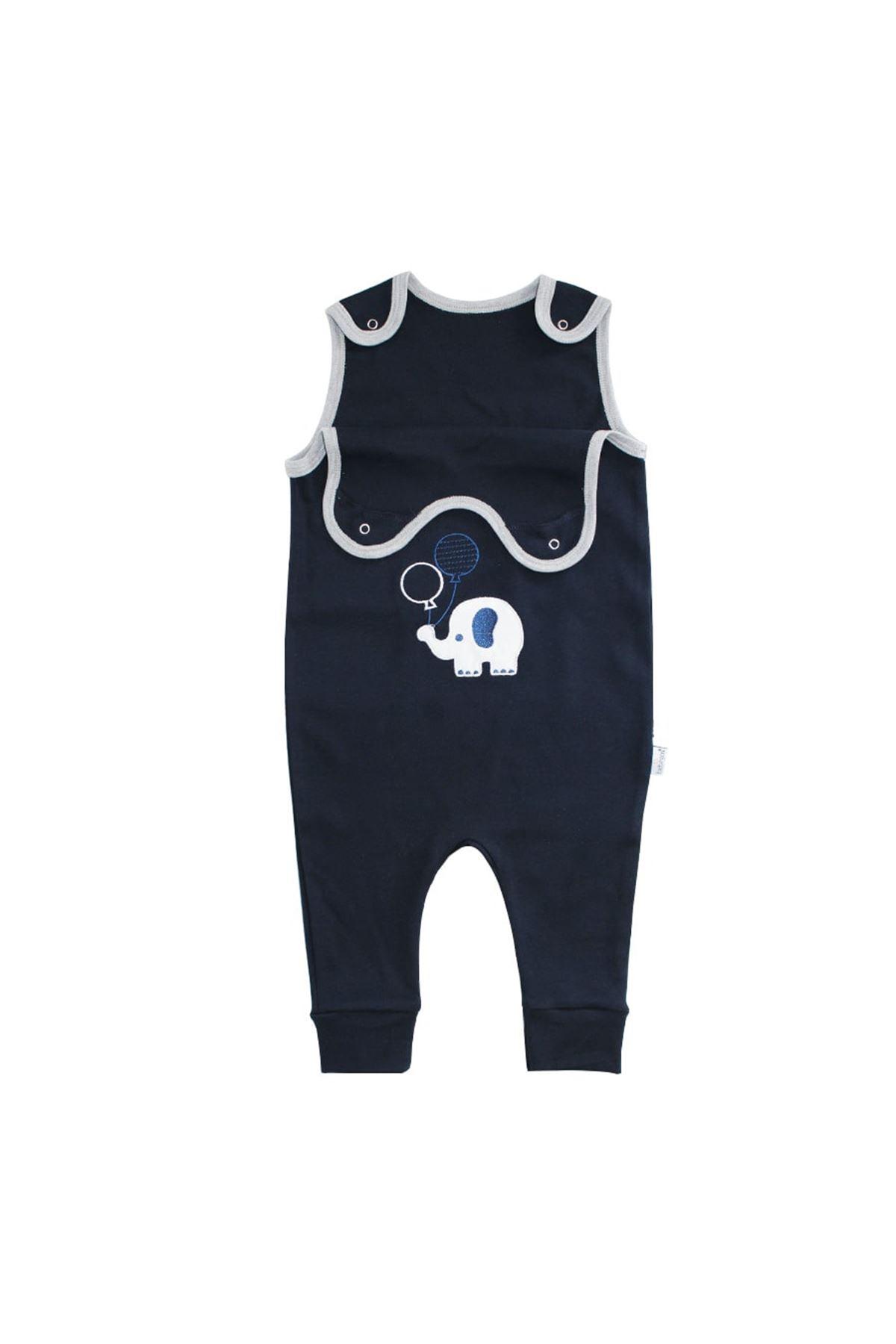Lacivert Gri Biyeli Nakışlı Askılı Bebek Tulum